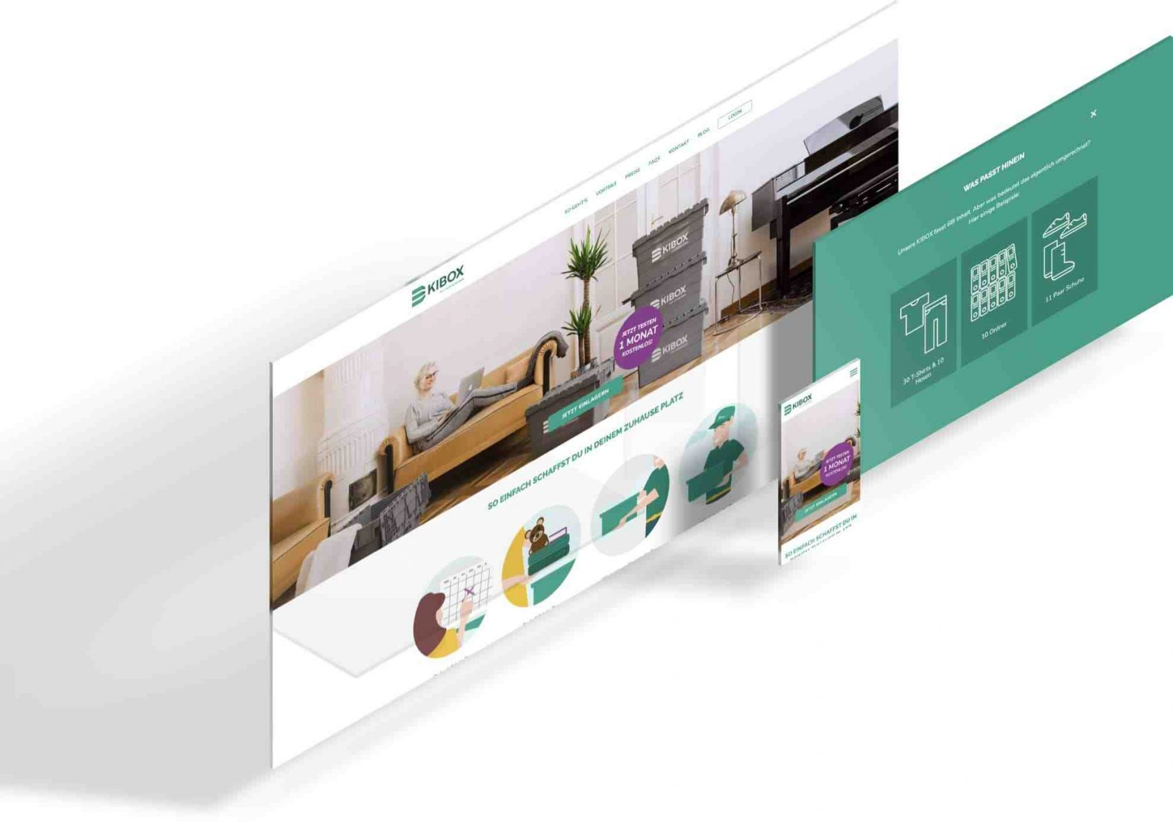Die Ansicht der KIBOX Website auf den verschiedenen Geräten um zu zeigen, dass das Design responsive ist
