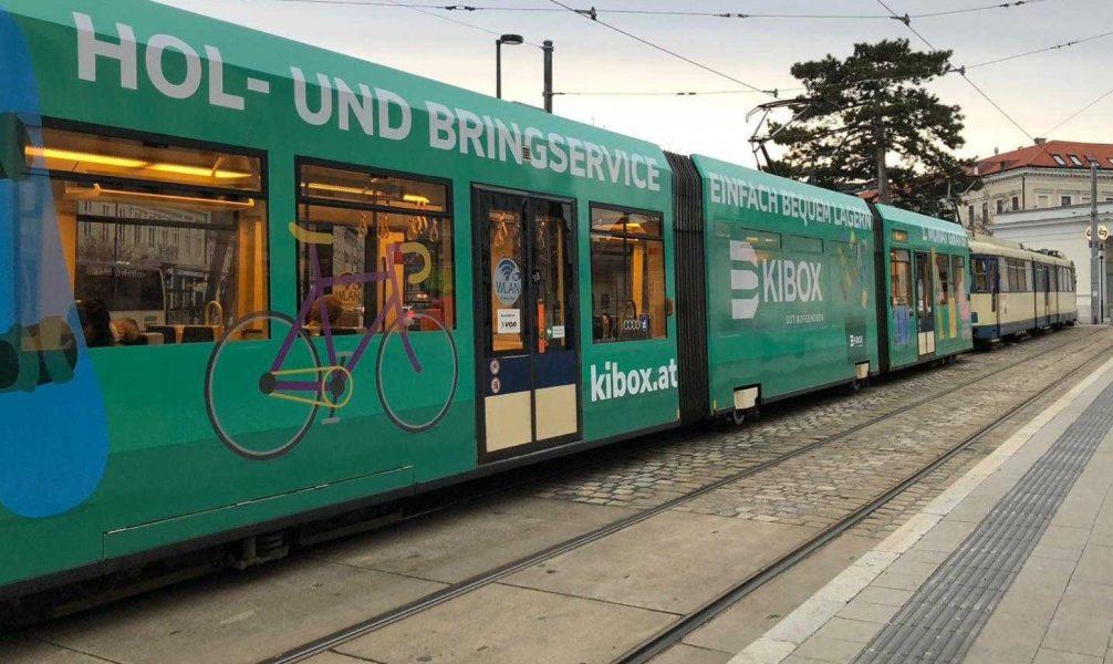 A KIBOX branded Badnerbahn.