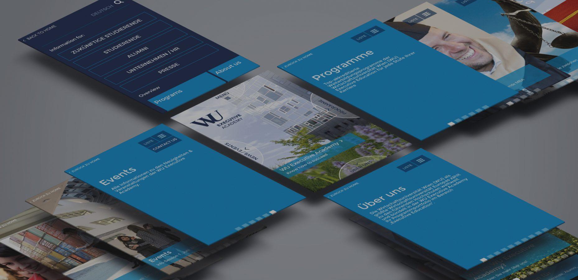 Digitalsunray mobiles Website Design die Kompassnavigation mit der man in jede Himmelsrichtung wischt um zu einem Menü zu kommen